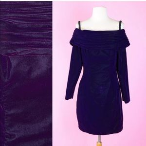 Vintage 90s Purple Velvet Off the Shoulder Dress